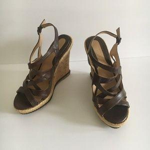 Colin Stuart Snakeskin Print Platform Cork Sandals